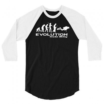 Evolution Of Scuba Divingfunny Swim Retro Sea Cool Boat Party 3/4 Sleeve Shirt Designed By Nugraha