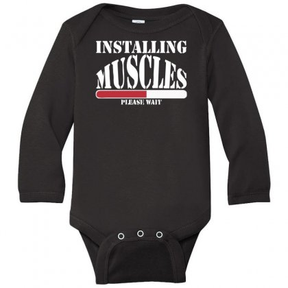 Funny Installing Muscles, Ideal Gift, Birthday Present Long Sleeve Baby Bodysuit Designed By Nugraha