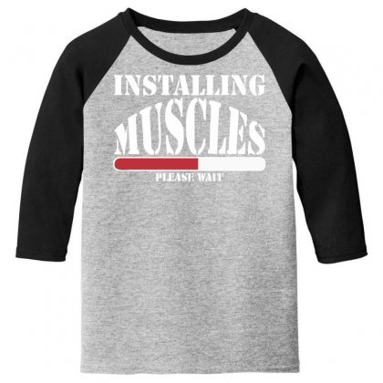 Funny Installing Muscles, Ideal Gift, Birthday Present Youth 3/4 Sleeve Designed By Nugraha