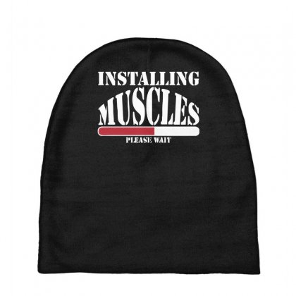 Funny Installing Muscles, Ideal Gift, Birthday Present Baby Beanies Designed By Nugraha