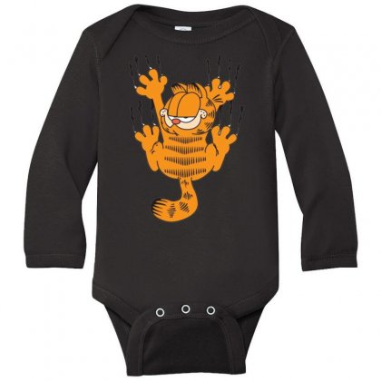 Garfield Scratching, Ideal Gift Or Birthday Present Funny Long Sleeve Baby Bodysuit Designed By Nugraha