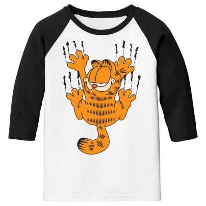 Garfield Scratching, Ideal Gift Or Birthday Present Funny Youth 3/4 Sleeve Designed By Nugraha