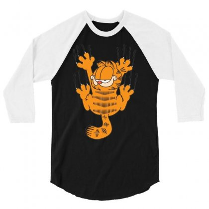 Garfield Scratching, Ideal Gift Or Birthday Present Funny 3/4 Sleeve Shirt Designed By Nugraha