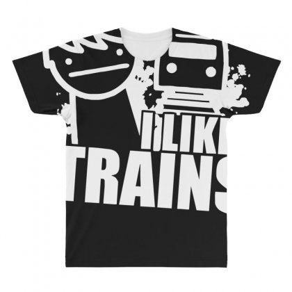 I Like Trains All Over Men's T-shirt Designed By Nugraha