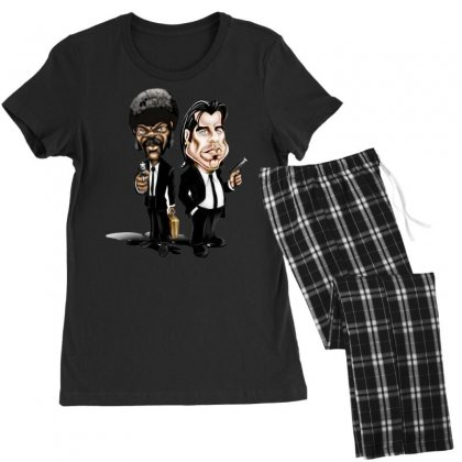 Pulp Fiction Caricature Ideal Birthday Gift Present Women's Pajamas Set Designed By Nugraha