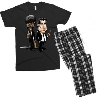 Pulp Fiction Caricature Ideal Birthday Gift Present Men's T-shirt Pajama Set Designed By Nugraha