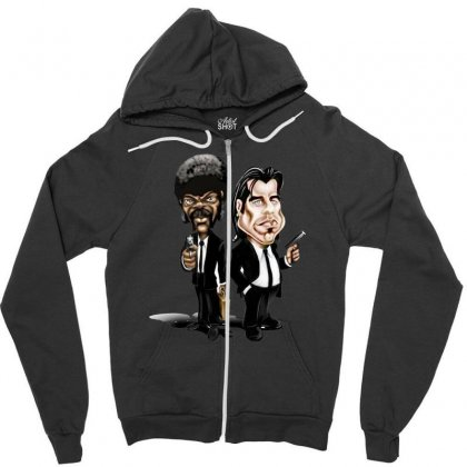 Pulp Fiction Caricature Ideal Birthday Gift Present Zipper Hoodie Designed By Nugraha