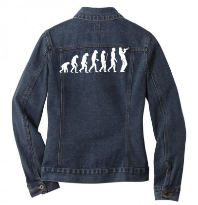 Evolution Trompeter Musik Musiker Instrument Trompete Trumpet Konzert Ladies Denim Jacket Designed By Nugraha
