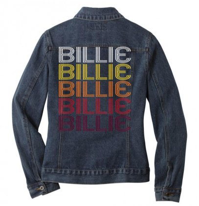 Billie Retro Wordmark Pattern   Vintage Style T Shirt Ladies Denim Jacket Designed By Cuser1744