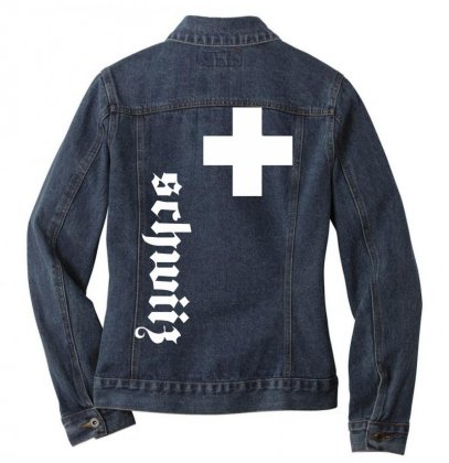 Fan, Swiss Cross, Switzerland, New Ladies Denim Jacket Designed By Nugraha
