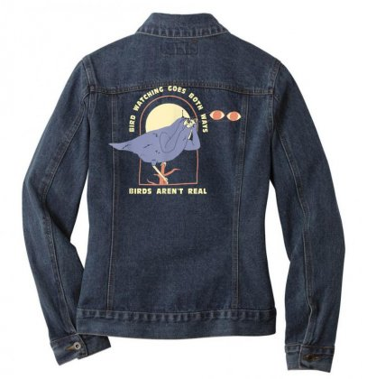 Bird Watching Goes Both Ways funny Bird Lover Tee T Shirt Ladies Denim Jacket Designed By Cuser1744