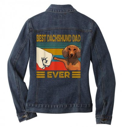 Best Dachshund Dad Ever Ladies Denim Jacket Designed By Kakashop