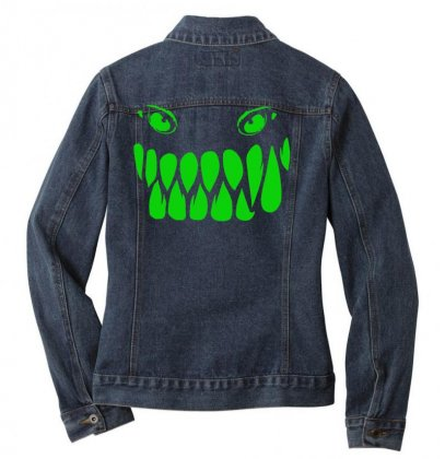 Fun Monster Face, Eat, Beast, Ladies Denim Jacket Designed By Nugraha