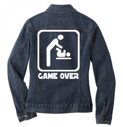 Game Over Daddy Funny Ladies Denim Jacket Designed By Nugraha