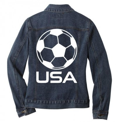 Usa Soccer Football Olympic Ladies Denim Jacket Designed By Nugraha