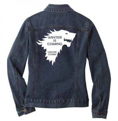 Winter Is Coming   House Stark Ladies Denim Jacket Designed By Nugraha