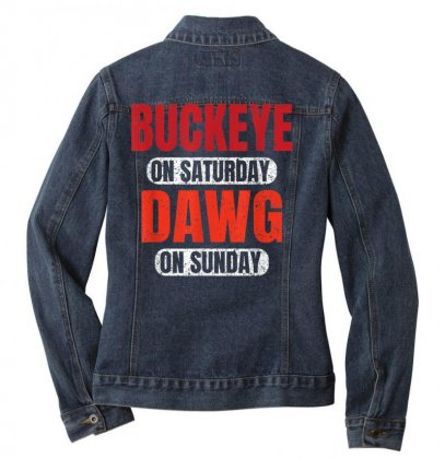 Buckeye On Saturday Dawg On Sunday Cleveland Ohio Gift Funny T Shirt Ladies Denim Jacket Designed By Cuser1744