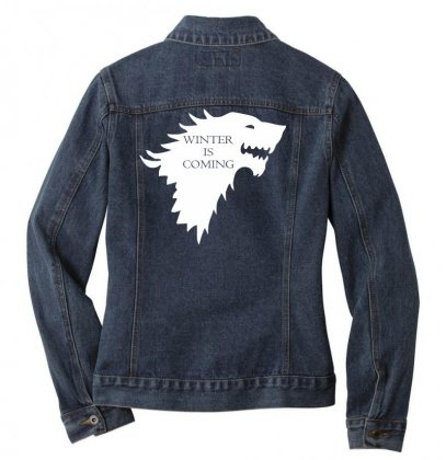 Winter Is Coming Ladies Denim Jacket Designed By Nugraha