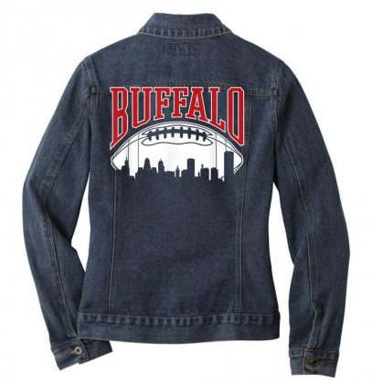 Buffalo Football  Vintage Skyline New York Bills Mafia Gift T Shirt Ladies Denim Jacket Designed By Cuser1744
