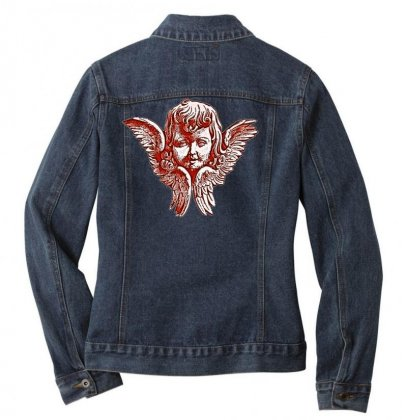 Head Wing Drawing Tattoo Angel Ladies Denim Jacket Designed By Salmanaz