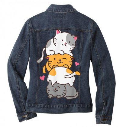 Cat Cats Meowtain Cute Kitty Pile Anime Kawaii Neko Gift T Shirt Ladies Denim Jacket Designed By Cuser1744