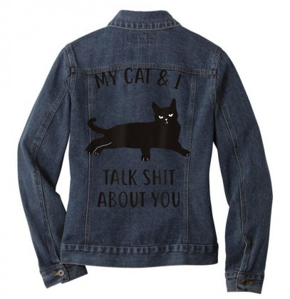 Cat Shirt Ladies Denim Jacket Designed By Cuser1744