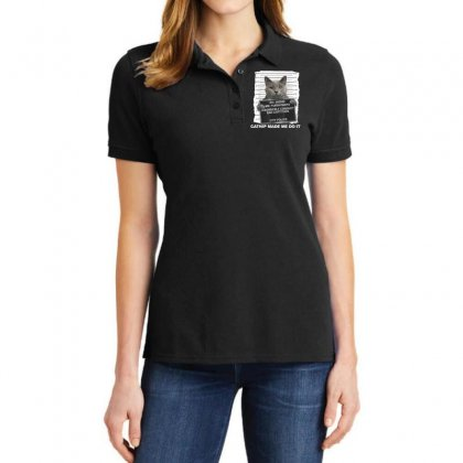 Catnip Made Me Do It Funny Cat Tee T Shirt Ladies Polo Shirt Designed By Cuser1744