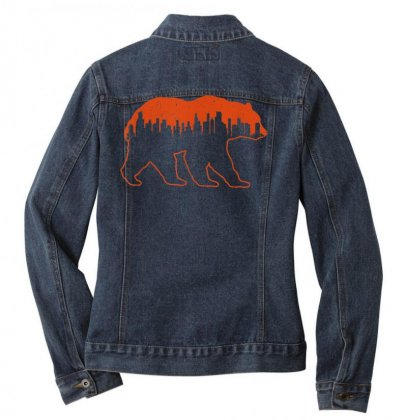 Chicago Football Vintage Skyline Bear Illinois Gift T Shirt Ladies Denim Jacket Designed By Cuser1744