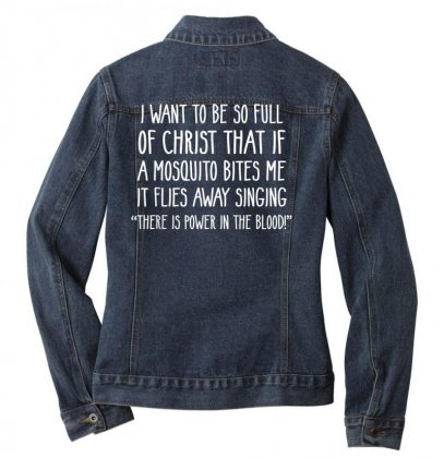 Christian Mosquito Joke Funny Deluxe T Shirt Ladies Denim Jacket Designed By Cuser1744