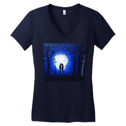 Dreamy Blue Night Couple Women's V-neck T-shirt Designed By Mglimpses