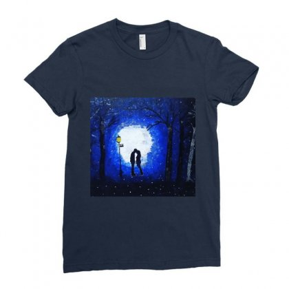 Dreamy Blue Night Couple Ladies Fitted T-shirt Designed By Mglimpses