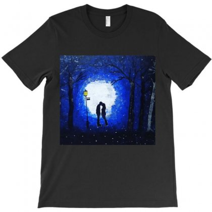 Dreamy Blue Night Couple T-shirt Designed By Mglimpses