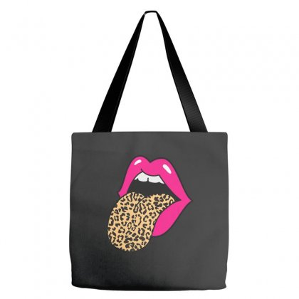 Hot Pink Lips Leopard Tongue Tote Bags Designed By Kakashop