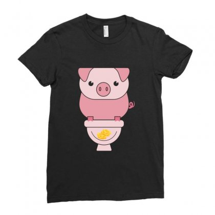 Piggy Bank Poop Money Ladies Fitted T-shirt Designed By Perfect Designers