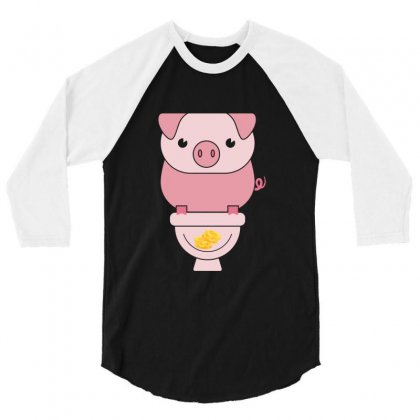 Piggy Bank Poop Money 3/4 Sleeve Shirt Designed By Perfect Designers