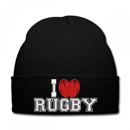 I Love Rugby Knit Cap Designed By Madhatter