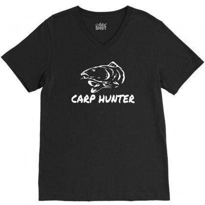 Carp Hunter Pike Angler Fishing New V-neck Tee Designed By Ririn