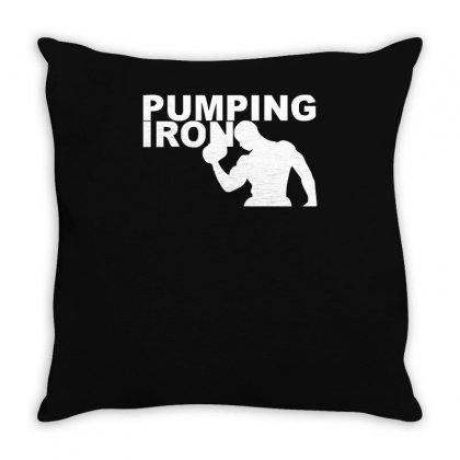 Pump Gym Training Bodybuilding Workout Keepfit Weightlifting Throw Pillow Designed By Ririn