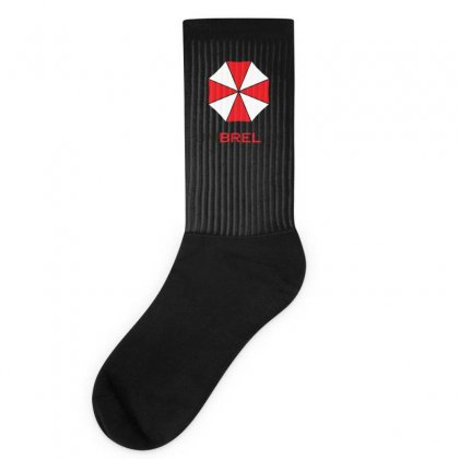 Resident Evil Logo Umbrella Corporation Zombie Videogames Socks Designed By Ririn