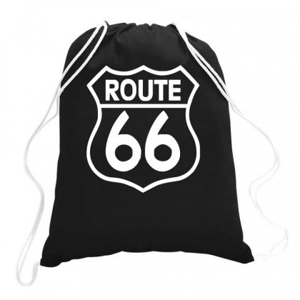 Route 66 Stampa Bianca Starda America Sport Drawstring Bags Designed By Ririn