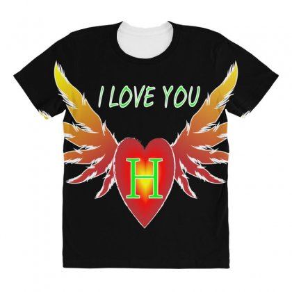 H- Valentine Day All Over Women's T-shirt Designed By Arfa