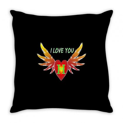 H- Valentine Day Throw Pillow Designed By Arfa