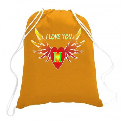 H- Valentine Day Drawstring Bags Designed By Arfa