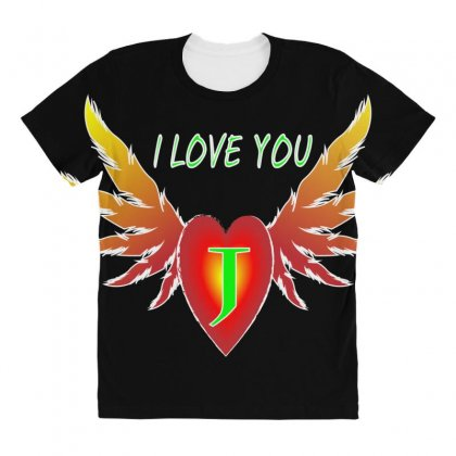 J- Valentine Day All Over Women's T-shirt Designed By Arfa
