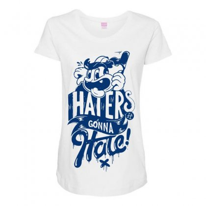 Haters Hate Maternity Scoop Neck T-shirt Designed By Designisfun