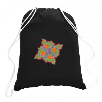 Square Fractal Spiral Drawstring Bags Designed By Zykkwolf
