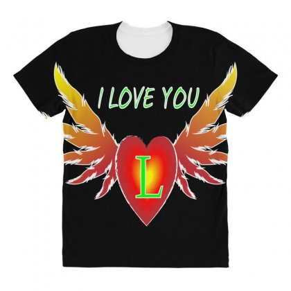 L=valentine Day All Over Women's T-shirt Designed By Arfa