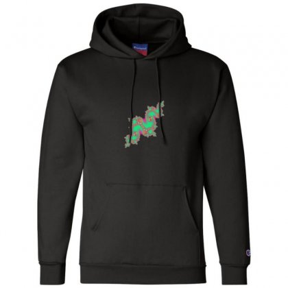 Fractal Green Cloud Champion Hoodie Designed By Zykkwolf