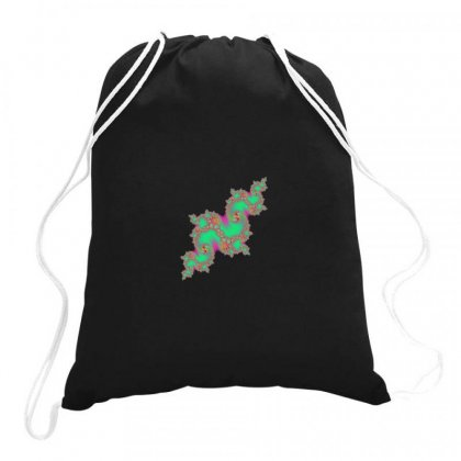 Fractal Green Cloud Drawstring Bags Designed By Zykkwolf