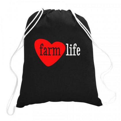 I Heart Farm Life Drawstring Bags Designed By Aheupote